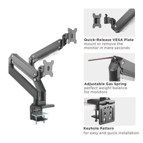 DUAL MONITOR DESK MOUNT ARMS
